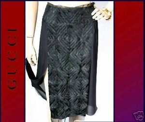 $3395 NEW GUCCI TOM FORD BLACK EMBROIDERED SKIRT 44 -10