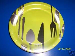 DesignWare Dinner Hour Cutlery Spoon Fork Knife Party Green 7quot; Dessert Plates