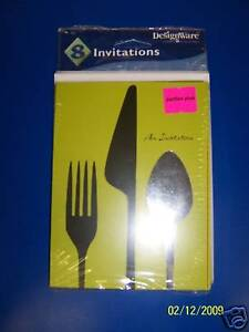 DesignWare Dinner Hour Cutlery Spoon Fork Knife Party Green Invitations