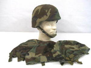 US ArmyUSMC PASGT Kevlar Helmet Cover Woodland Camouflage Pattern MedLg Size