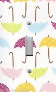 Light Switch Plate Switchplate amp; Outlet Covers COLORFUL RAIN UMBRELLAS CUTE