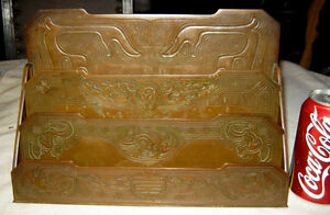 ANTIQUE TIFFANY STUDIOS NEW YORK SOLID BRONZE CHINESE LETTER PAPER RACK HOLDER