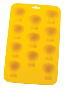 Yellow Silicone Shell Ice Cube Tray - Flexible 11 Cubes - Freeze / Bake / Mold