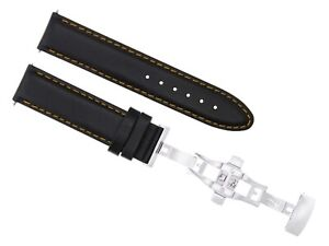 20MM LEATHER STRAP SMOOTH BAND BRACELET CLASP FOR GIRARD PERREGAUX BLACK OS #2