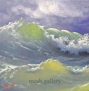 ORIGINAL OIL PAINTING 6X6 MESH Expressionism SEASCAPE Sea Stormy Playful Waves $399.99
