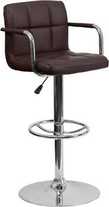 Contemporary Brown Quilted Vinyl Adjustable Height Bar Stool