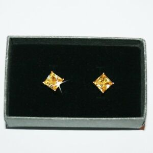 Princess Cut Canary Yellow Diamond Alternatives Stud Earrings 14k gold over Base