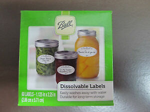 Ball Pack of 60 Dissolvable Food Canning Jar Labels Use on Glass or Lid  #10734