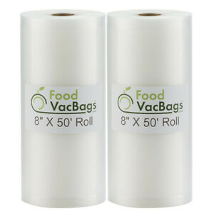 Two 8quot;X50#x27; Giant Bulk Rolls Food Saver Storage Vacuum Sealer Bags by FoodVacBags $19.99