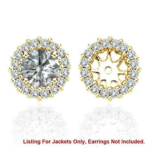 White SI2 Diamond Halo Solitaire Stud Bridal Earrings Jackets 14K Yellow Gold