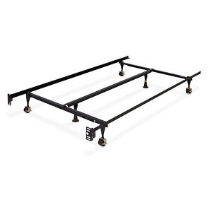 BCP Adjustable Metal Bed Frame w Center Support Locking Wheeled Rollers