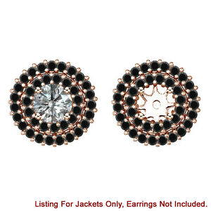 Black Diamond Double Halo Solitaire Stud Bridal Earrings Jackets 14K Rose Gold