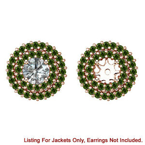 Green Diamond Double Halo Solitaire Stud Bridal Earrings Jackets 14K Rose Gold