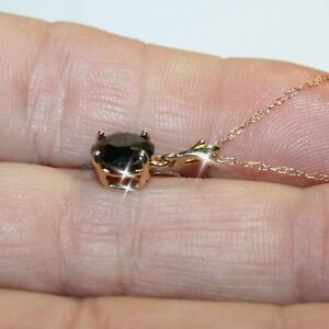 Black Diamond Alternatives Pendant Necklace Solid 14k Yellow Gold