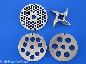 #8 4 pc COMBO SET Meat Grinder Grinding plate disc knife blade Stainless Steel $35.75
