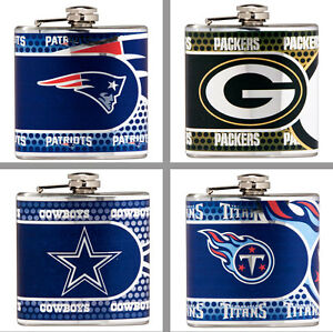 Choose Your NFL Team 6 oz. Stainless Steel Hi-Def Metallic Graphics Hip Flask