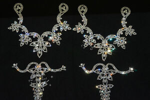 1 pair 4 pcs Shoes Applique Crystal Rhinestone Sewing On Silver K616 $27.06