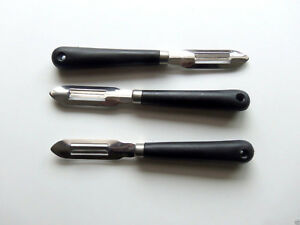 Set of 3 Black Handle Stainless Steel Fixed Blade Vegetable Potato Peelers
