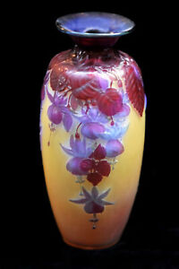 Galle Mold Blown Glass Fuchsia Flowers Vase French 11.5