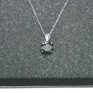 Round Black Diamond Alternatives Pendant Necklace Solid 14k White Gold