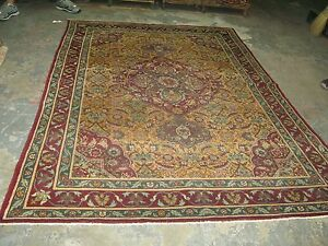 Antique Amritsar Agra India Area Rug Hand Knotted Wool 6' x 9' Carpet