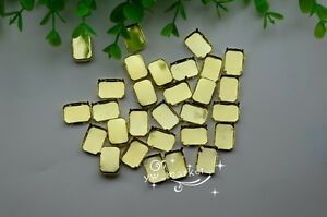 100 PCS 8mm x 10mm Rectangle Jewels#x27;s Settings For Sewing On Golden $5.66