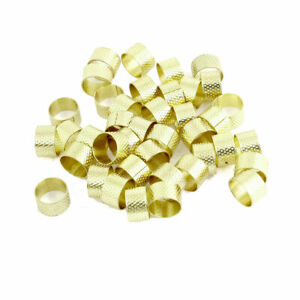 Hand Protective Tailors Sewing Reeded Texturing Gold Tone Metal Thimble 40 Pcs $13.84