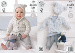 King Cole Double Knitting Pattern Baby Cardigans Hat Easy Knit Smarty DK 4319 GBP 3.25