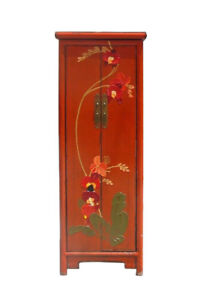 Chinese Orange Thick Oil Flower Graphic Narrow Cabinet cs367 $1106.00