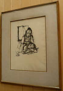KARL HOFER LISTED GERMAN EXPRESSIONIST FIGURAL ABSTRACT SIGNED LITHOGRAPH RARE