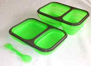 SILICONE COLLAPSIBLE FOOD CONTAINER Green Lunch Tray Compartments Fork Spoon NEW