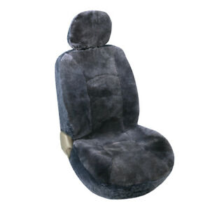 One Sheepskin Seat Cover fit Toyota HondaFordChevrolet and Most Cars Gray