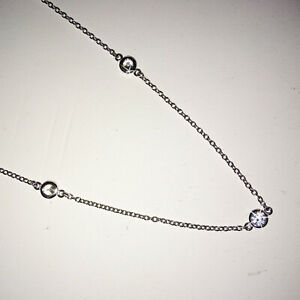 White Diamond Alternatives By the Yard Necklace 14k White Gold Over 925 SS 18 In