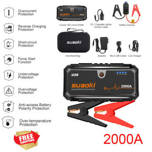 Suaoki 12V 2000A Peak Jump Starter Pack Power Bank Battery Booster Charger LED