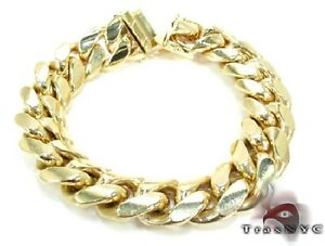 Mens 14k Yellow Gold 8inches 20mm Bracelet 236.80 grams