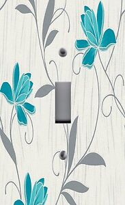 Light Switch Plate Outlet Covers HOME DECOR TEAL FLOWERS 2