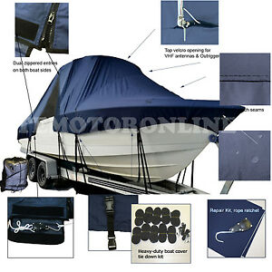 Pursuit 2870 Offshore CC Center Console T-Top Hard-Top Fishing Boat Cover Blue