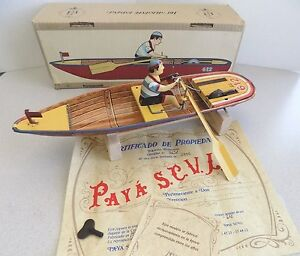 wind up tin toy man rowing boat p 612 limited