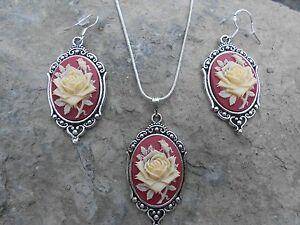 IVORY ROSE CAMEO NECKLACE AND EARRINGS SET (RED) 925 PLATE-- QUALITY
