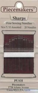 Piecemakers Sharps Sewing Needles Sizes 5 10 $2.75