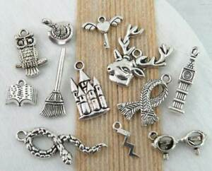 12 HARRY POTTER Charms Antique Silver Mixed Wizard Charm Collection Set Lot $5.99