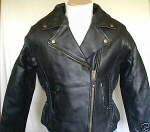 Ladies Womens Braided Premium Leather Motorcycle Jacket MLXL $229 CLOSEOUT $127.99