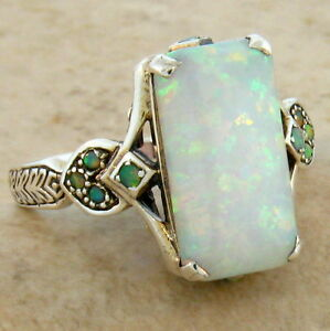 LAB OPAL ANTIQUE VICTORIAN STYLE .925 STERLING SILVER RING SIZE 8 #462 $42.50