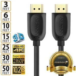 HDMI Cable Cord 1.4 4K 3D HDTV PC Xbox PS5 High Speed Plug 3 6 10 15 25 30 50 FT $18.99
