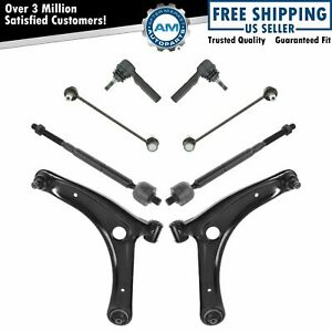 8 Piece Kit Lower Control Arm Ball Joint Inner Outer Tie Rod Sway Bar Link