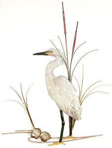Snowy Egret Bird with Shells Metal Wall Art Sculpture- Bovano of Cheshire #W368