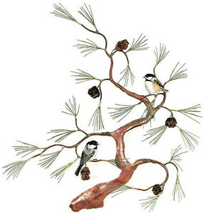 Chickadees on Copper Tree with Pine Cones Metal Wall Art Sculpture- Bovano #W467