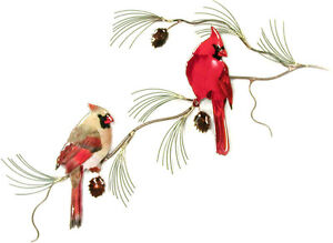 Cardinal Pair on Pine Metal Bird Wall Art Sculpture by Bovano of Cheshire W4133