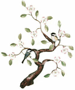 Chickadees in Tree Enameled Copper Metal Bird Wall Art Sculpture by Bovano W466