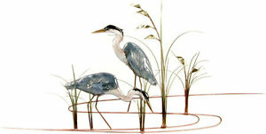 Double Herons Metal Bird Wall Art Sculpture by Bovano of Cheshire W375